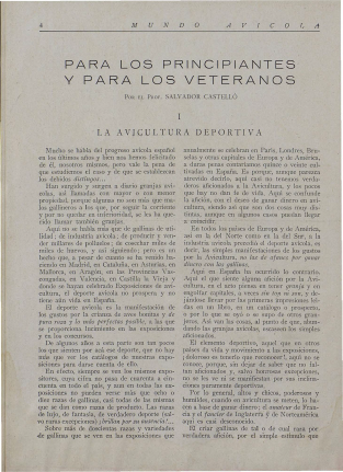 LA AVICULTURA DEPORTIVA. (MUNDO AVÍCOLA-1930)