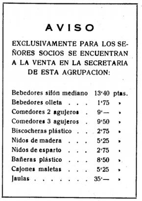 Economato Agrupacion de canaricultores de Badalona y su comarca 1959