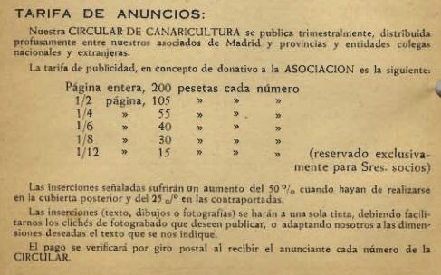 ANUNCIOS NUESTROS CANARIOS 1955