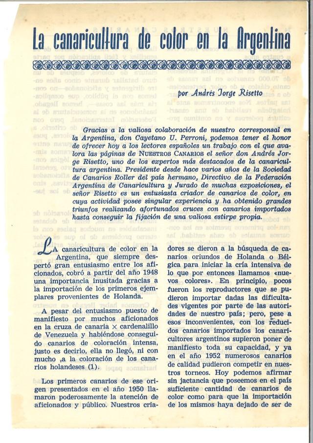 La canaricultura de color en Argentina. 1